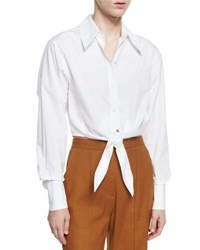 Diane Von Furstenberg Collared Front Tie Cotton Shirt White