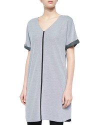 Joan Vass Short Sleeve Long Pique Tunic Petite