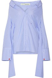 Off White The Shoulder Striped Cotton Poplin Shirt Light Blue