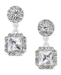 Charter Club Silver Tone Square Crystal Drop Earrings Only At Macy's