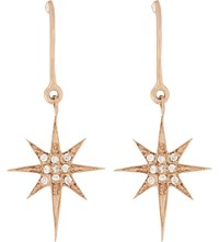 Aamaya By Priyanka Shooting Star 18Ct Rose Gold Plated And White Topaz Drop Earrings Rose Gold White Topaz