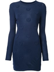 Zoe Karssen Hearts Motif Knit Dress Blue