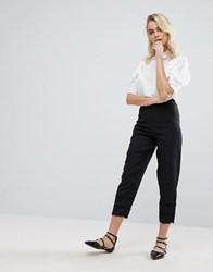Fashion Union Trousers With Frill Detail Black