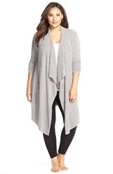 Plus Size Women's Barefoot Dreams Cable Knit Drape Front Cardigan
