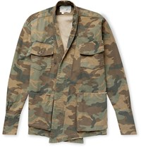 Greg Lauren Camouflage Print Cotton Jacket Brown