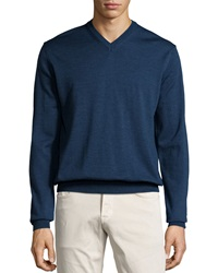 Neiman Marcus Wool V Neck Sweater Cosmos