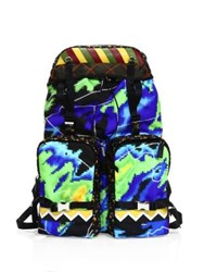 Prada Tessuto Patch Nylon And Leather Backpack Multicolor