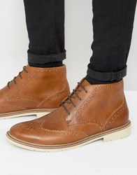 Tommy Hilfiger Metro Leather Lace Up Brogue Boots Tan