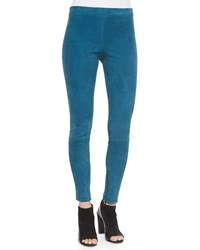Vince Stretch Suede Zipper Cuff Leggings Women's Teal