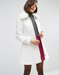 Asos Skater Coat With Faux Fur Collar Winter White