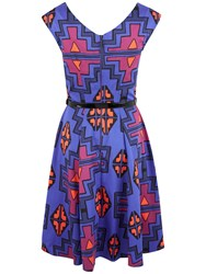 Almari Geometric Belted Flared Dress Multi