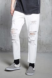 Forever 21 Distressed Clean Wash Jeans White