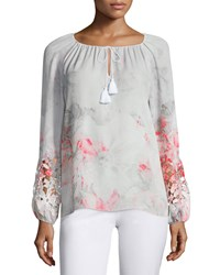 Elie Tahari Mariella Long Sleeve Lace Inset Blouse Neon Orchid Women's