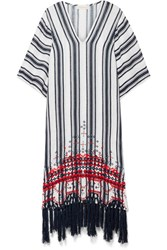 Tory Burch Oversized Embroidered Striped Linen Gauze Kaftan Navy