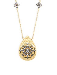Freida Rothman Classic Crystal And Sterling Silver Hammered Nautical Wheel Teardrop Pendant Necklace Gold