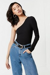 Urban Outfitters Uo Asymmetrical One Shoulder Top Black