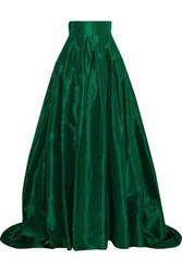 Carolina Herrera Woman Pleated Silk Taffeta Maxi Skirt Emerald