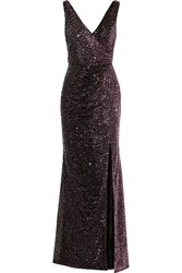 Badgley Mischka Ombre Sequined Tulle Gown Purple