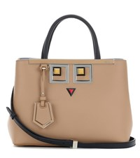 Fendi 2Jours Petite Embellished Leather Tote Brown
