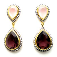 Meghna Jewels Parineta Earrings Pink Purple