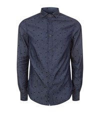 Armani Jeans Micro Logo Embroidered Shirt Male Navy