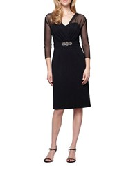 Alex Evenings Petite Embellished Faux Belt Dress Black