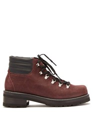 Montelliana Tom Lace Up Suede Boots Burgundy