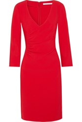 Diane Von Furstenberg Eliana Ruched Stretch Crepe Dress Red