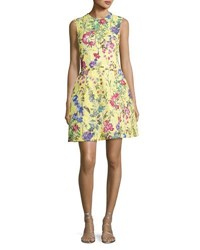 Monique Lhuillier Structured Floral Lace Cocktail Dress Yellow