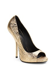 Giuseppe Zanotti Sparkle Crinkled Metallic Leather Platform Pumps Gold