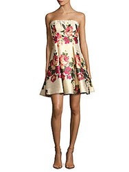 Nicole Miller Floral Print Strapless Fit And Flare Dress Red Multi