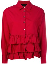 Erika Cavallini Ruffle Shirt Women Cotton 40 Red
