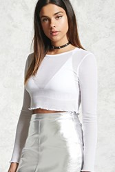 Forever 21 Mesh Knit Crop Top White Onerror Javascript Fnremovedom 'Colorid_01