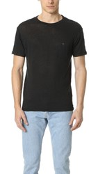 Todd Snyder Linen Jersey Button Pocket Tee Black