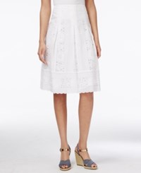 Charter Club Petite Solid Floral Eyelet A Line Skirt Only At Macy's Bright White