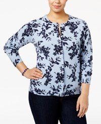 Karen Scott Plus Size Printed Cardigan Light Blue Heather Combo