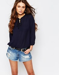 Only Tie Front Ruffle Neck Tunic Navy