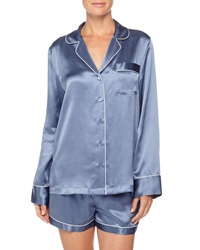 Neiman Marcus Contrast Trim Long Sleeve Shortie Pajama Set Steel Blue