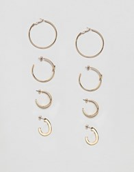 Stradivarius Set Of 4 Gold Hoops Earrings