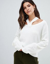 Micha Lounge Jumper With Cut Out Shoulder Detail Cream