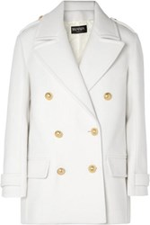Balmain Button Embellished Double Breasted Wool Coat White