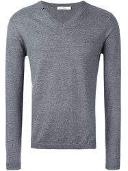 Sun 68 Neck Contrast Jumper Grey