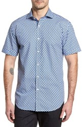 Bugatchi Shaped Fit Polka Dot Sport Shirt Classic Blue