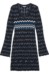 Autumn Cashmere Cotton Crochet Knit Dress Blue