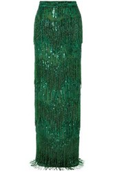 Naeem Khan Woman Embellished Sequined Tulle Maxi Skirt Bright Green