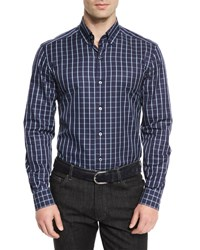 Ermenegildo Zegna Windowpane Long Sleeve Sport Shirt Navy
