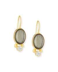 Dina Mackney Pyrite And White Topaz Wire Earrings Gold