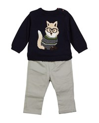 Mayoral Fox Intarsia Sweater W Pants Size 6 36 Months Blue