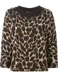 Erika Cavallini Semi Couture Animal Print Sweater Black