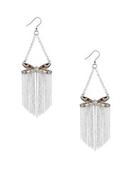 Lucky Brand California Gardens Mother Of Pearl And Rock Crystal Butterfly Drop Earrings Silver